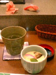 峯寿司 トロと茶碗蒸しと焼酎